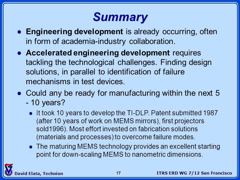 ITRS ERD WG 7/12 San Francisco David Elata, Technion 17 Summary Engineering development is already occurring, often in form of academia-industry colla