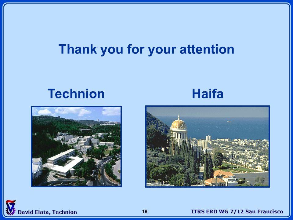 ITRS ERD WG 7/12 San Francisco David Elata, Technion 18 TechnionHaifa Thank you for your attention