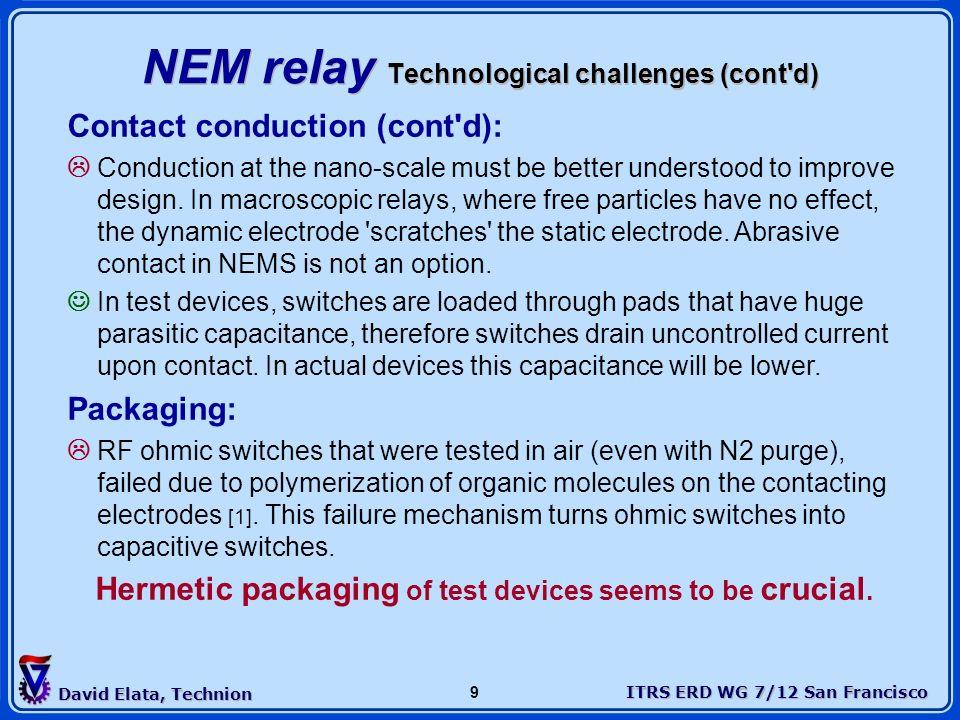 ITRS ERD WG 7/12 San Francisco David Elata, Technion 9 NEM relay Technological challenges (cont'd) Contact conduction (cont'd): Conduction at the nano