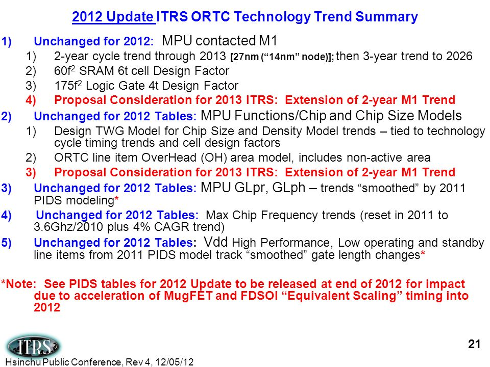 1)Unchanged for 2012: MPU contacted M1 1)2-year cycle trend through 2013 [27nm (14nm node)]; then 3-year trend to 2026 2)60f 2 SRAM 6t cell Design Fac