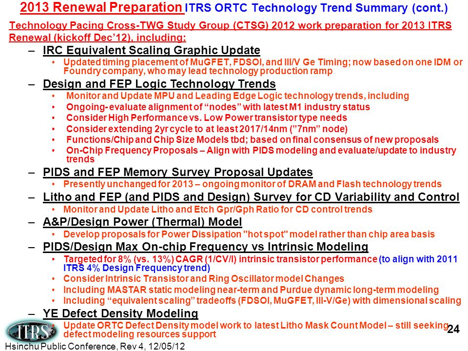 Technology Pacing Cross-TWG Study Group (CTSG) 2012 work preparation for 2013 ITRS Renewal (kickoff Dec12), including: 2013 Renewal Preparation ITRS O