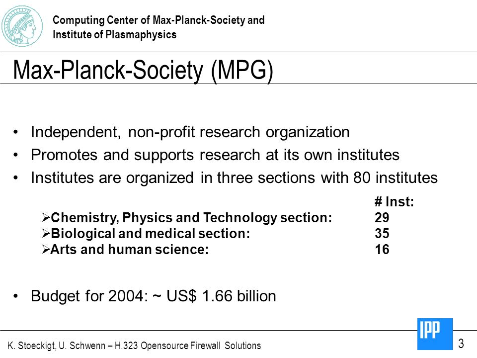 Computing Center of Max-Planck-Society and Institute of Plasmaphysics K. Stoeckigt, U. Schwenn – H.323 Opensource Firewall Solutions 3 Max-Planck-Soci