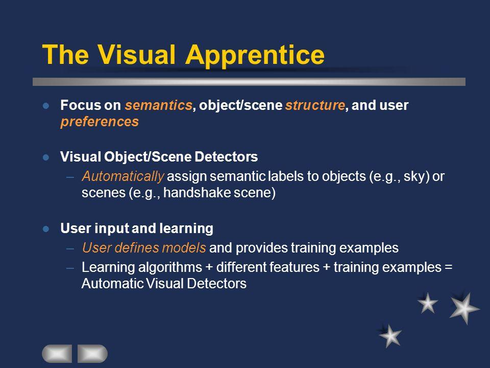 The Visual Apprentice Focus on semantics, object/scene structure, and user preferences Visual Object/Scene Detectors –Automatically assign semantic la