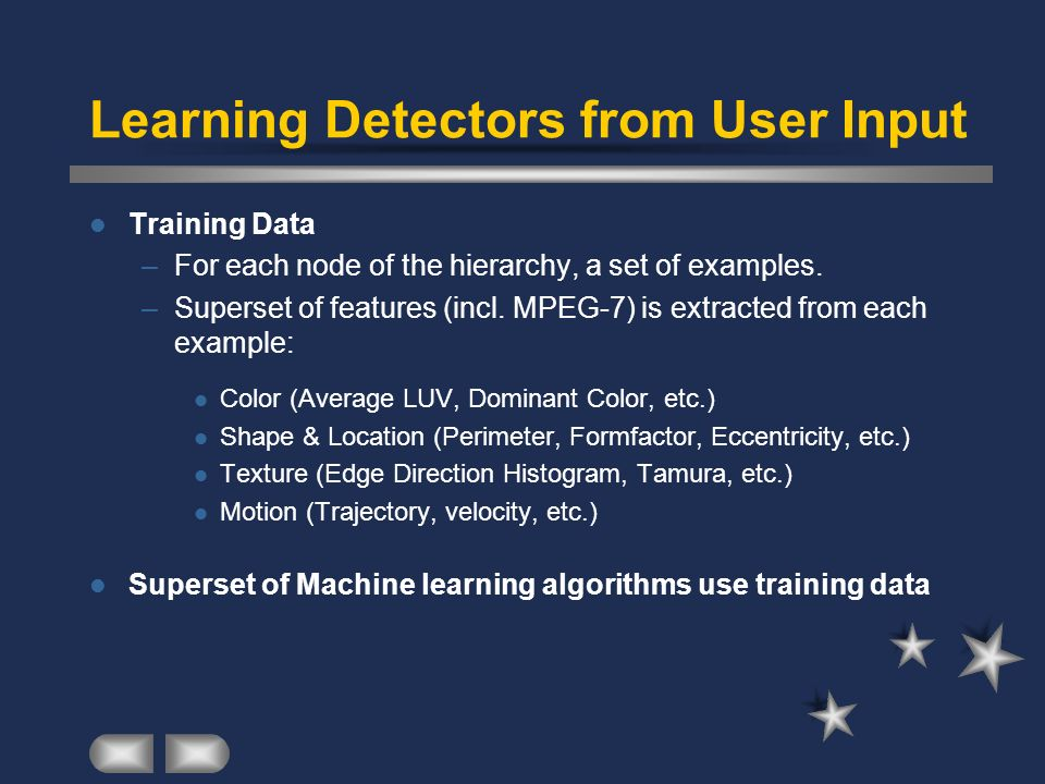 Learning Detectors from User Input Training Data –For each node of the hierarchy, a set of examples. –Superset of features (incl. MPEG-7) is extracted