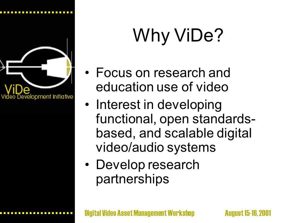 Digital Video Asset Management Workshop August 15-16, 2001 Why ViDe.