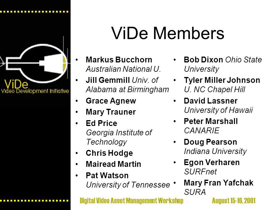 Digital Video Asset Management Workshop August 15-16, 2001 ViDe Members Markus Bucchorn Australian National U.