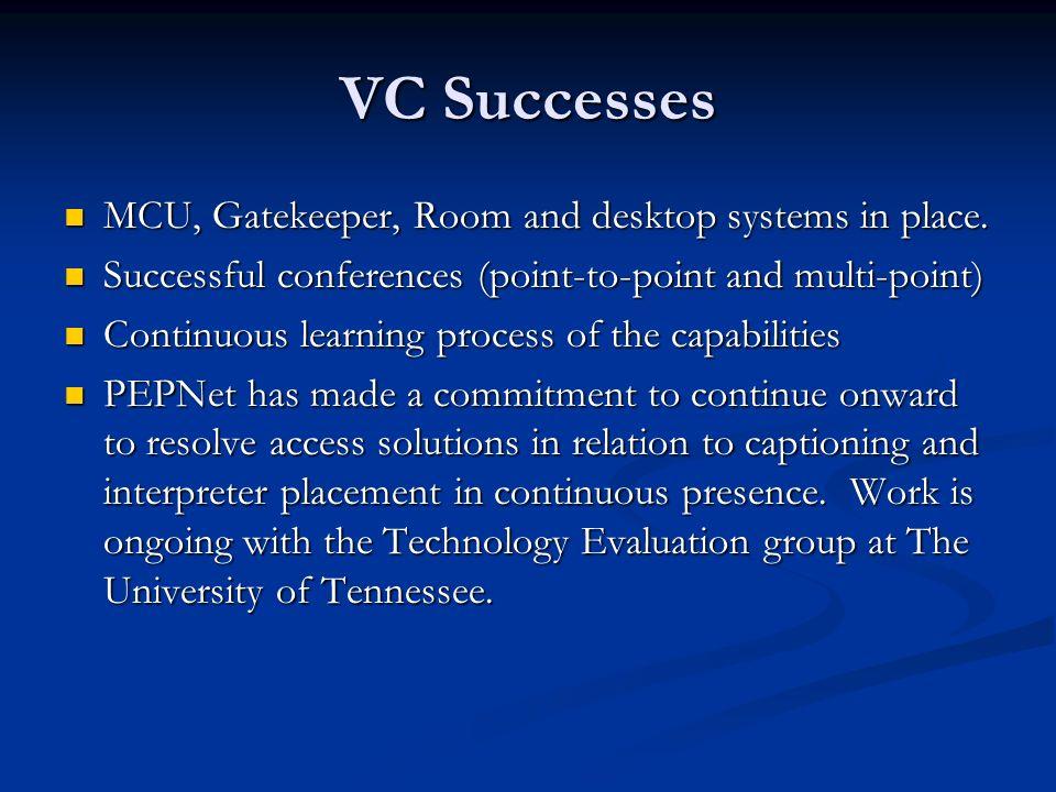 VC Successes MCU, Gatekeeper, Room and desktop systems in place. MCU, Gatekeeper, Room and desktop systems in place. Successful conferences (point-to-
