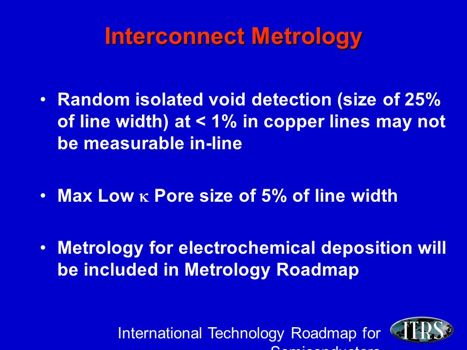 International Technology Roadmap for Semiconductors Interconnect Metrology Random isolated void detection (size of 25% of line width) at < 1% in copper lines may not be measurable in-line Max Low Pore size of 5% of line width Metrology for electrochemical deposition will be included in Metrology Roadmap