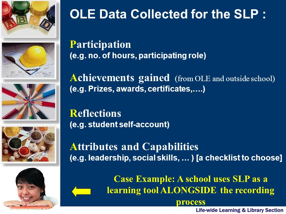 Participation (e.g. no. of hours, participating role) Achievements gained (from OLE and outside school) (e.g. Prizes, awards, certificates,….) Reflect