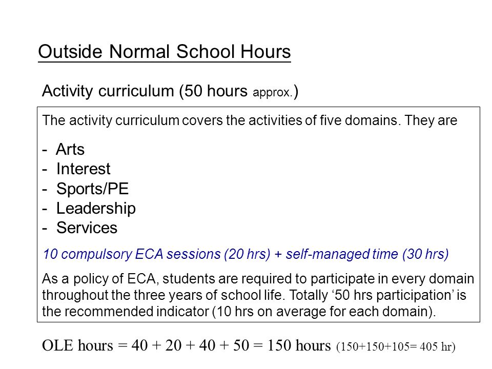 Activity curriculum (50 hours approx. ) Outside Normal School Hours The activity curriculum covers the activities of five domains. They are - Arts - I