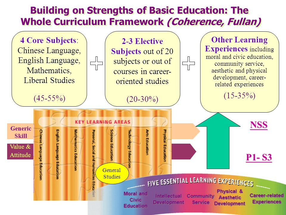 Chinese Language, English Language, Mathematics and Liberal Studies as core subjects for ALL students 2 or 3 elective subjects (chosen from a range of 20 elective subjects) Other learning experiences (moral and civic education, community service, aesthetic and physical development, career-related experiences) Career-oriented studies (alternative(s) to elective(s)) 45 – 55%20 – 30%15 – 35% Proposed NSS Curriculum