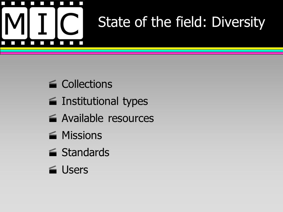 State of the field: Diversity Collections Institutional types Available resources Missions Standards Users