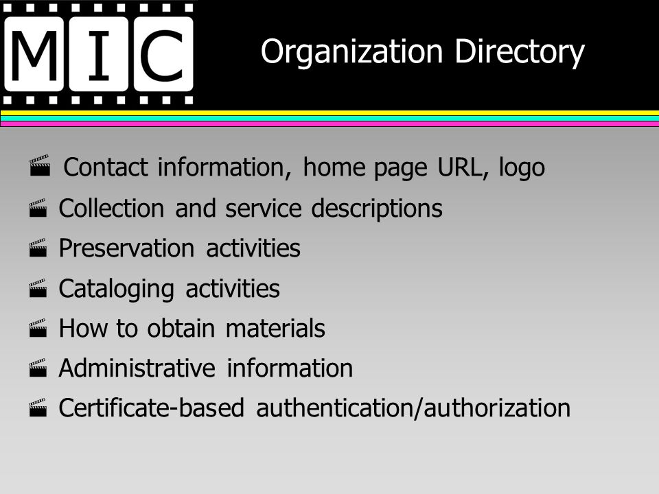 Organization Directory Contact information, home page URL, logo Collection and service descriptions Preservation activities Cataloging activities How to obtain materials Administrative information Certificate-based authentication/authorization