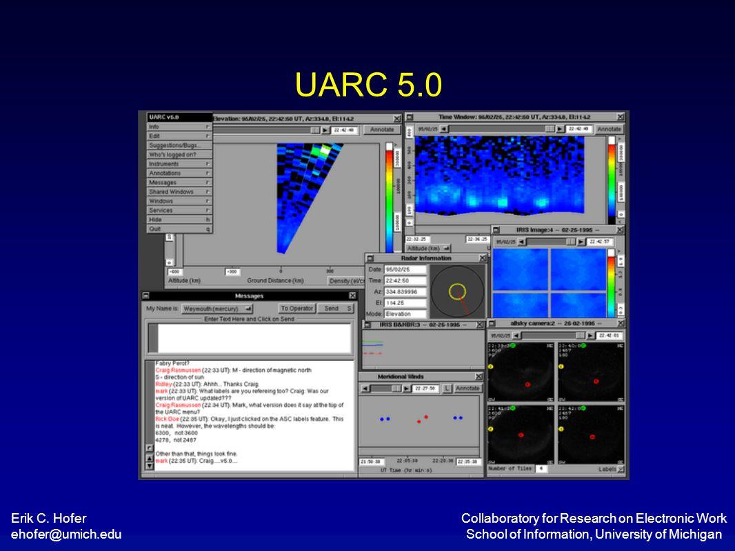 Erik C. Hofer ehofer@umich.edu Collaboratory for Research on Electronic Work School of Information, University of Michigan UARC 5.0
