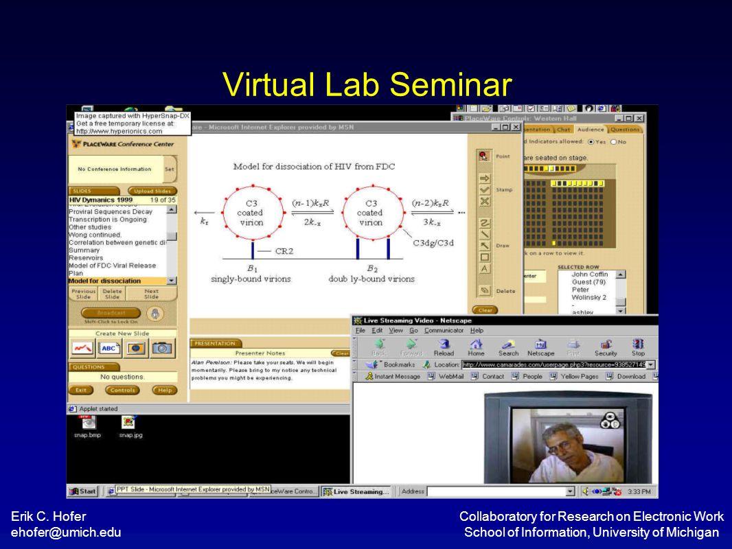 Erik C. Hofer ehofer@umich.edu Collaboratory for Research on Electronic Work School of Information, University of Michigan Virtual Lab Seminar