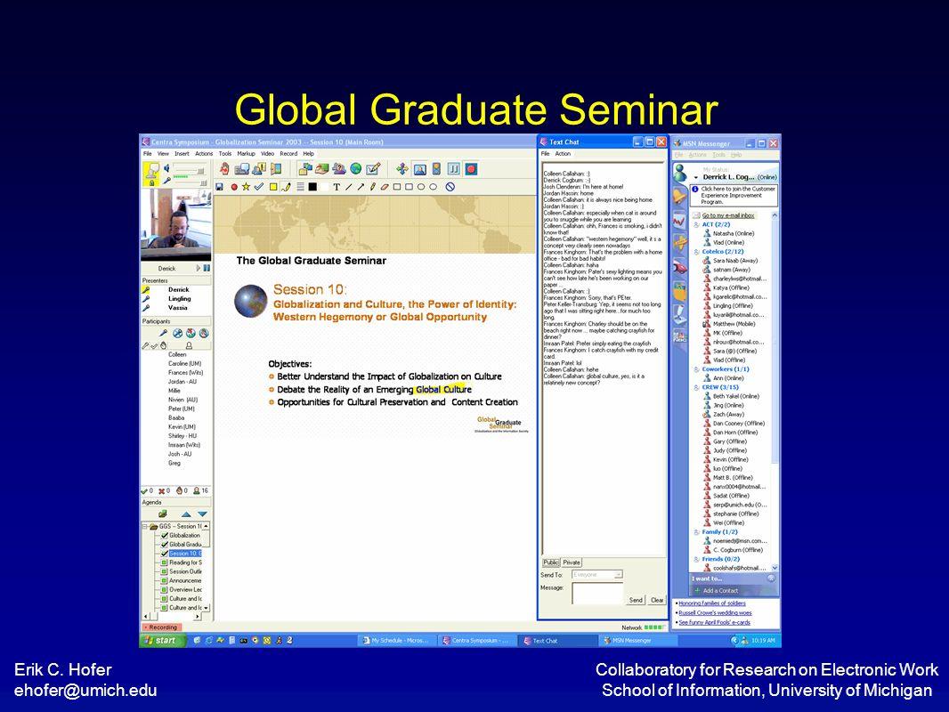Erik C. Hofer ehofer@umich.edu Collaboratory for Research on Electronic Work School of Information, University of Michigan Global Graduate Seminar