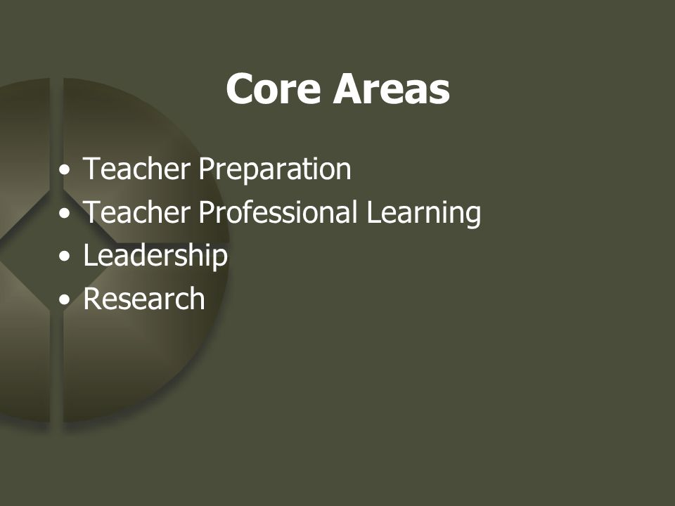 Core Areas Teacher Preparation Teacher Professional Learning Leadership Research