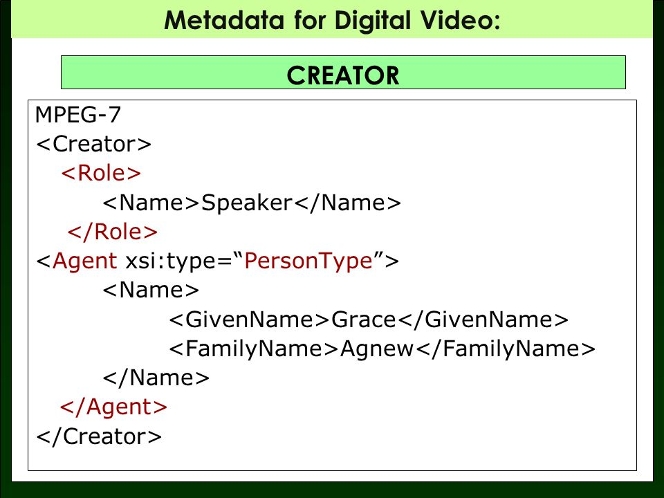 Metadata for Digital Video: CREATOR MPEG-7 Speaker Grace Agnew