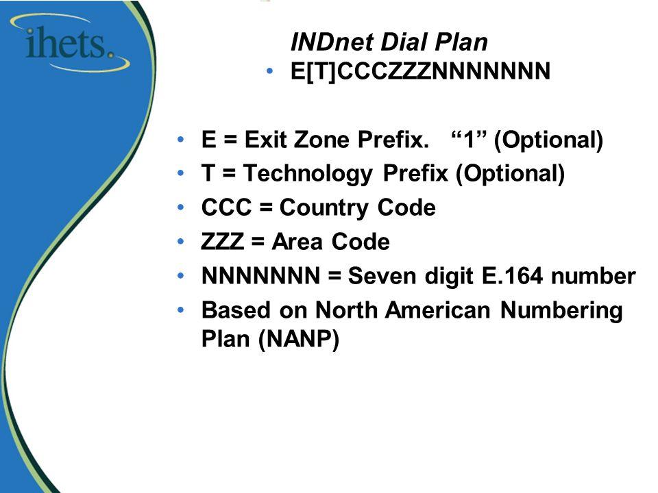 INDnet Dial Plan E[T]CCCZZZNNNNNNN E = Exit Zone Prefix.