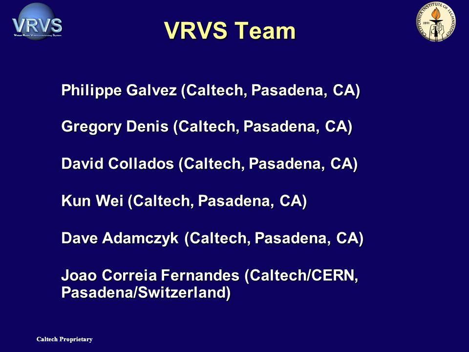 Caltech Proprietary VRVS Team Philippe Galvez (Caltech, Pasadena, CA) Gregory Denis (Caltech, Pasadena, CA) David Collados (Caltech, Pasadena, CA) Kun Wei (Caltech, Pasadena, CA) Dave Adamczyk (Caltech, Pasadena, CA) Joao Correia Fernandes (Caltech/CERN, Pasadena/Switzerland)