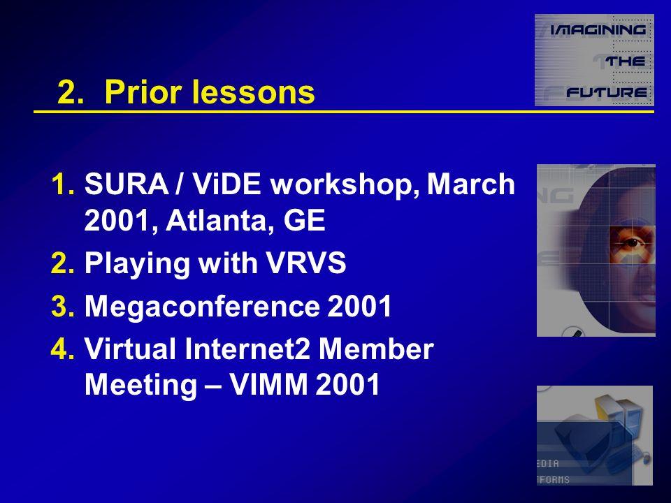 2. Prior lessons 1.SURA / ViDE workshop, March 2001, Atlanta, GE 2.Playing with VRVS 3.Megaconference 2001 4.Virtual Internet2 Member Meeting – VIMM 2