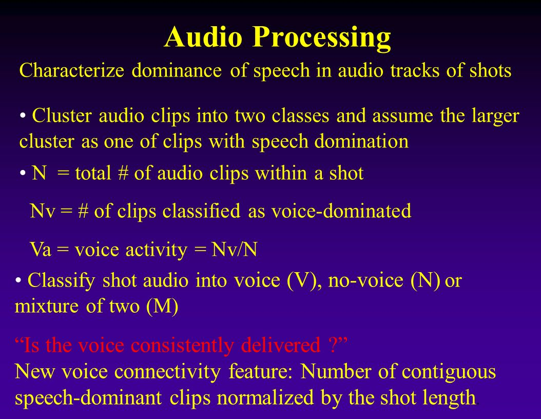 Audio Processing Classify shot audio into voice (V), no-voice (N) or mixture of two (M) Is the voice consistently delivered ? New voice connectivity f
