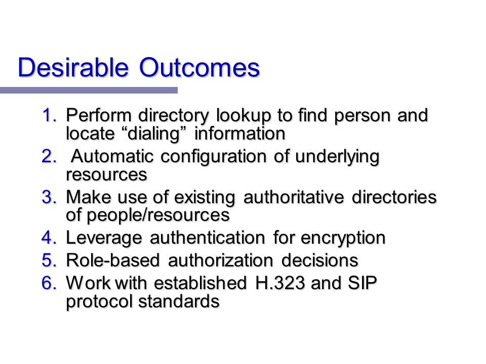 Desirable Outcomes 1.Perform directory lookup to find person and locate dialing information 2.