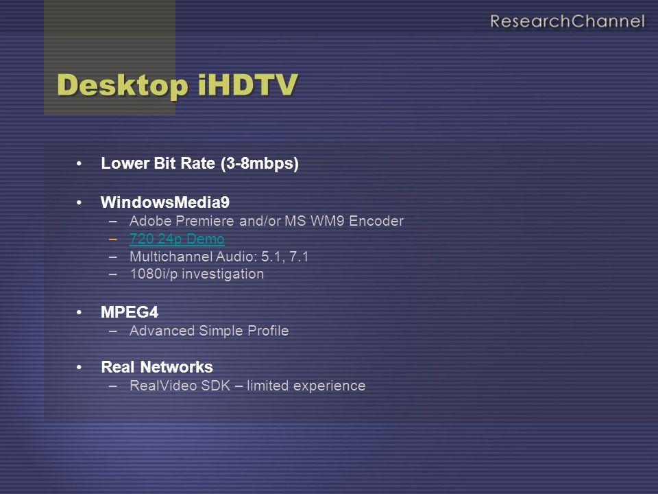 Desktop iHDTV 19.2mbps MPEG2 MP@HL Servers: –Videolan - VoD Development –IBM VideoCharger V8.2 Software only Clients: –Videolan vlc, Videocharger –Elecard, Intervideo, Cinepak, MainConcept Hardware assist Client: –Directshow Shim to DTV Card: WinTV-HD, HiPix, MyHD –Desktop or External Display – Plasma, LCD, Projector 19.2mbps MPEG2 MP@HL Servers: –Videolan - VoD Development –IBM VideoCharger V8.2 Software only Clients: –Videolan vlc, Videocharger –Elecard, Intervideo, Cinepak, MainConcept Hardware assist Client: –Directshow Shim to DTV Card: WinTV-HD, HiPix, MyHD –Desktop or External Display – Plasma, LCD, Projector