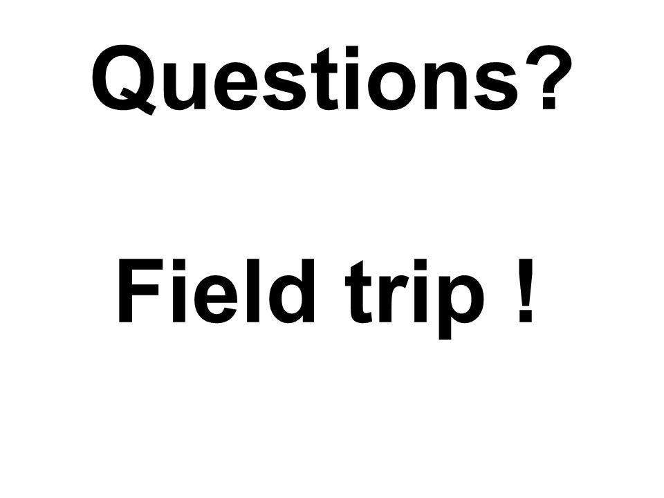 Questions? Field trip !