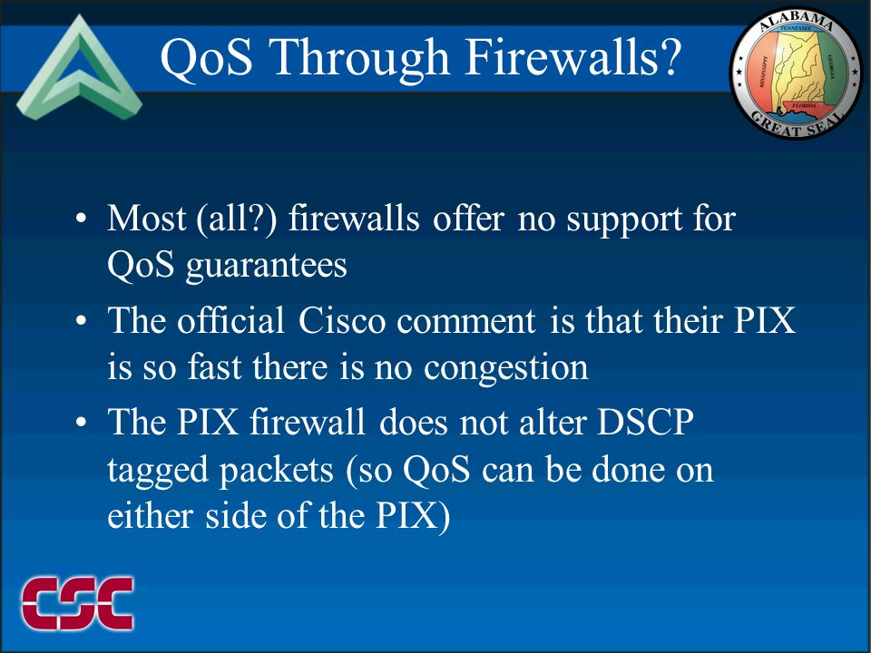 09999/2106 QoS Through Firewalls? Most (all?) firewalls offer no support for QoS guarantees The official Cisco comment is that their PIX is so fast th