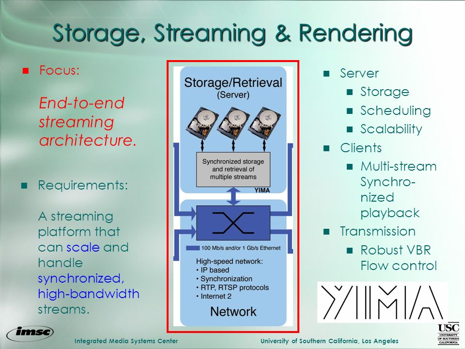 Integrated Media Systems CenterUniversity of Southern California, Los Angeles Storage, Streaming & Rendering n Server n Storage n Scheduling n Scalabi