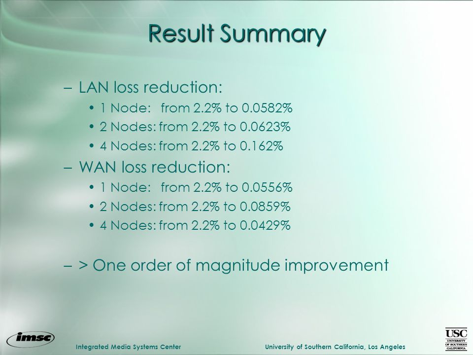 Integrated Media Systems CenterUniversity of Southern California, Los Angeles Result Summary –LAN loss reduction: 1 Node: from 2.2% to 0.0582% 2 Nodes