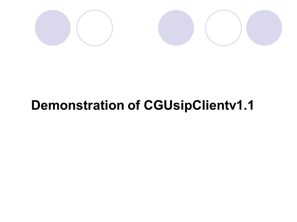 Demonstration of CGUsipClientv1.1