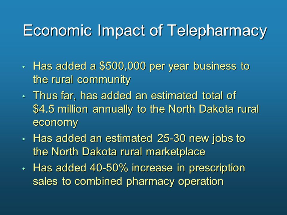 Economic Impact of Telepharmacy Has added a $500,000 per year business to the rural community Has added a $500,000 per year business to the rural comm