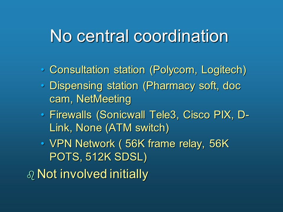 No central coordination Consultation station (Polycom, Logitech)Consultation station (Polycom, Logitech) Dispensing station (Pharmacy soft, doc cam, N