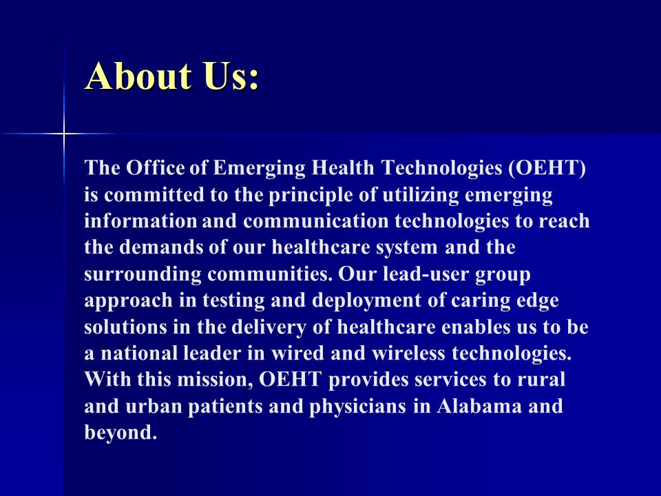 Current OEHT Projects: Bio-monitoring - A home-based chronic disease monitoring program, using inexpensive technology that collects relevant real-time physiological data and transmits it through a phone modem to a nurse reviewed database.