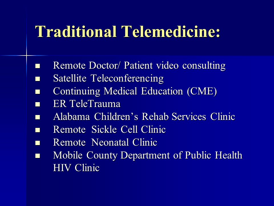 New Technologies: Wireless Technologies Wireless Technologies Satellite Technologies Satellite Technologies 3D Diagnostic Imagery 3D Diagnostic Imagery Distributed Biomedical Data Collection Distributed Biomedical Data Collection Session TM by Wave 3 Software – An Economical PC Based Software Videoconferencing Solution Session TM by Wave 3 Software – An Economical PC Based Software Videoconferencing Solution