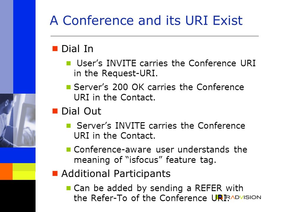 A Conference and its URI Exist Dial In Users INVITE carries the Conference URI in the Request-URI.