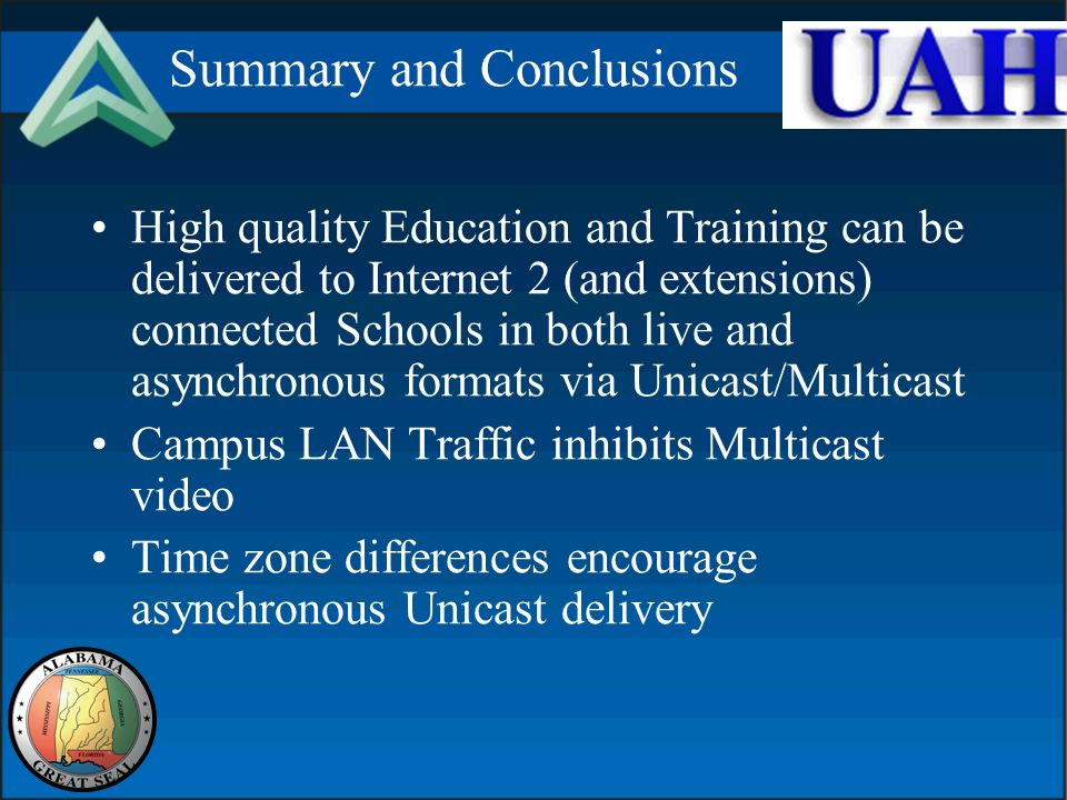 Summary and Conclusions High quality Education and Training can be delivered to Internet 2 (and extensions) connected Schools in both live and asynchronous formats via Unicast/Multicast Campus LAN Traffic inhibits Multicast video Time zone differences encourage asynchronous Unicast delivery