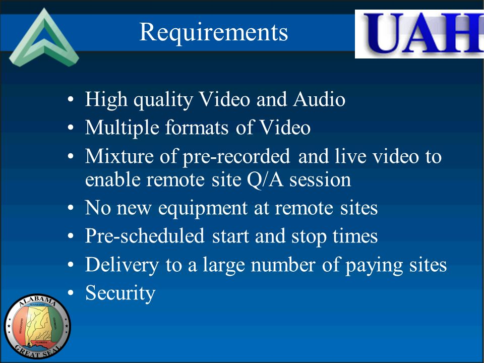 Requirements High quality Video and Audio Multiple formats of Video Mixture of pre-recorded and live video to enable remote site Q/A session No new equipment at remote sites Pre-scheduled start and stop times Delivery to a large number of paying sites Security