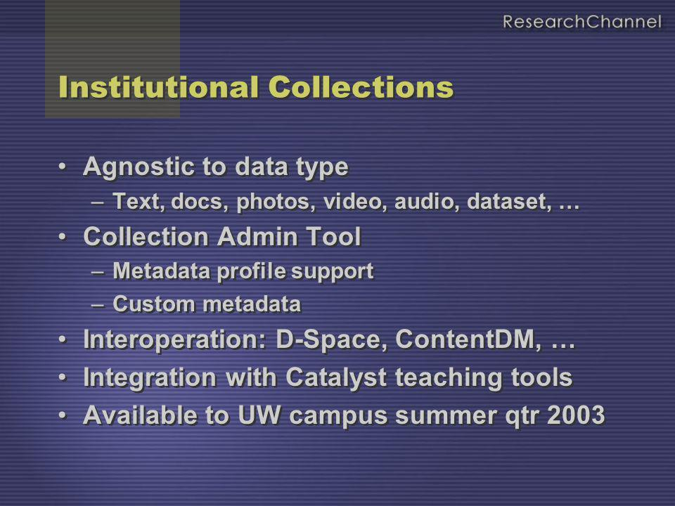 Institutional Collections Agnostic to data type –Text, docs, photos, video, audio, dataset, … Collection Admin Tool –Metadata profile support –Custom