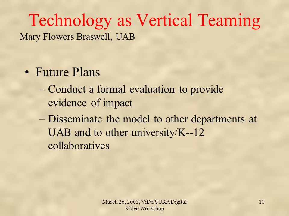Mary Flowers Braswell, UAB March 26, 2003, ViDe/SURA Digital Video Workshop 11 Technology as Vertical Teaming Future Plans –Conduct a formal evaluation to provide evidence of impact –Disseminate the model to other departments at UAB and to other university/K--12 collaboratives