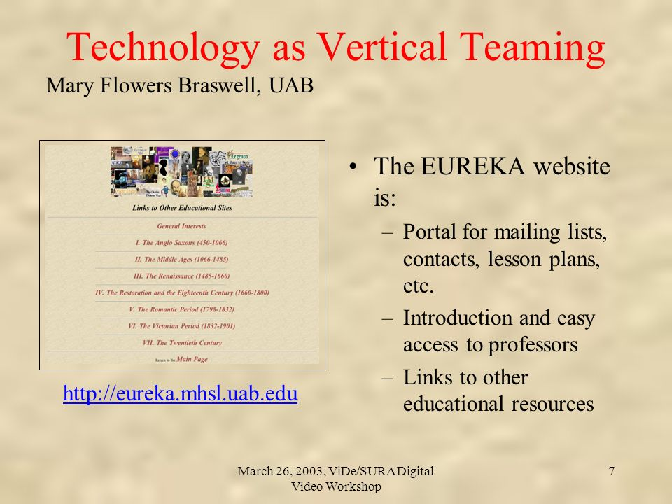 Mary Flowers Braswell, UAB March 26, 2003, ViDe/SURA Digital Video Workshop 7 Technology as Vertical Teaming The EUREKA website is: –Portal for mailing lists, contacts, lesson plans, etc.