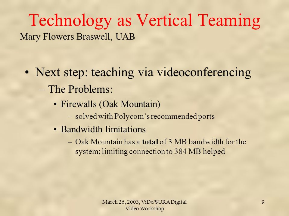 Mary Flowers Braswell, UAB March 26, 2003, ViDe/SURA Digital Video Workshop 9 Technology as Vertical Teaming Next step: teaching via videoconferencing –The Problems: Firewalls (Oak Mountain) –solved with Polycoms recommended ports Bandwidth limitations –Oak Mountain has a total of 3 MB bandwidth for the system; limiting connection to 384 MB helped