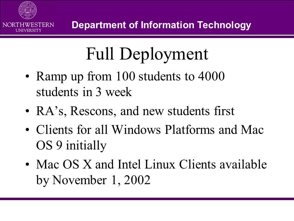 Department of Information Technology Full Deployment Ramp up from 100 students to 4000 students in 3 week RAs, Rescons, and new students first Clients