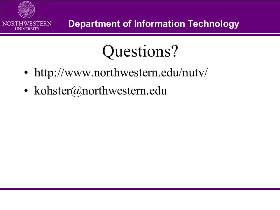 Department of Information Technology Questions.