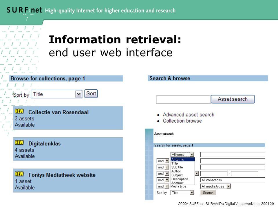 ©2004 SURFnet, SURA/ViDe Digital Video workshop 2004 20 Information retrieval: end user web interface