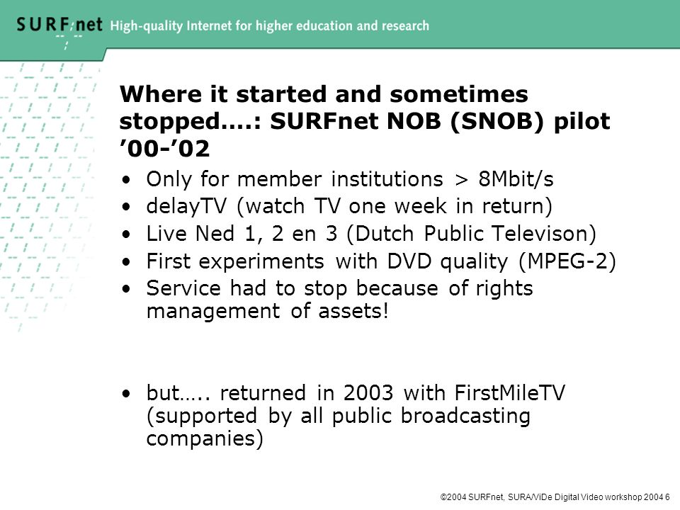 ©2004 SURFnet, SURA/ViDe Digital Video workshop Where it started and sometimes stopped….: SURFnet NOB (SNOB) pilot Only for member institutions > 8Mbit/s delayTV (watch TV one week in return) Live Ned 1, 2 en 3 (Dutch Public Televison) First experiments with DVD quality (MPEG-2) Service had to stop because of rights management of assets.