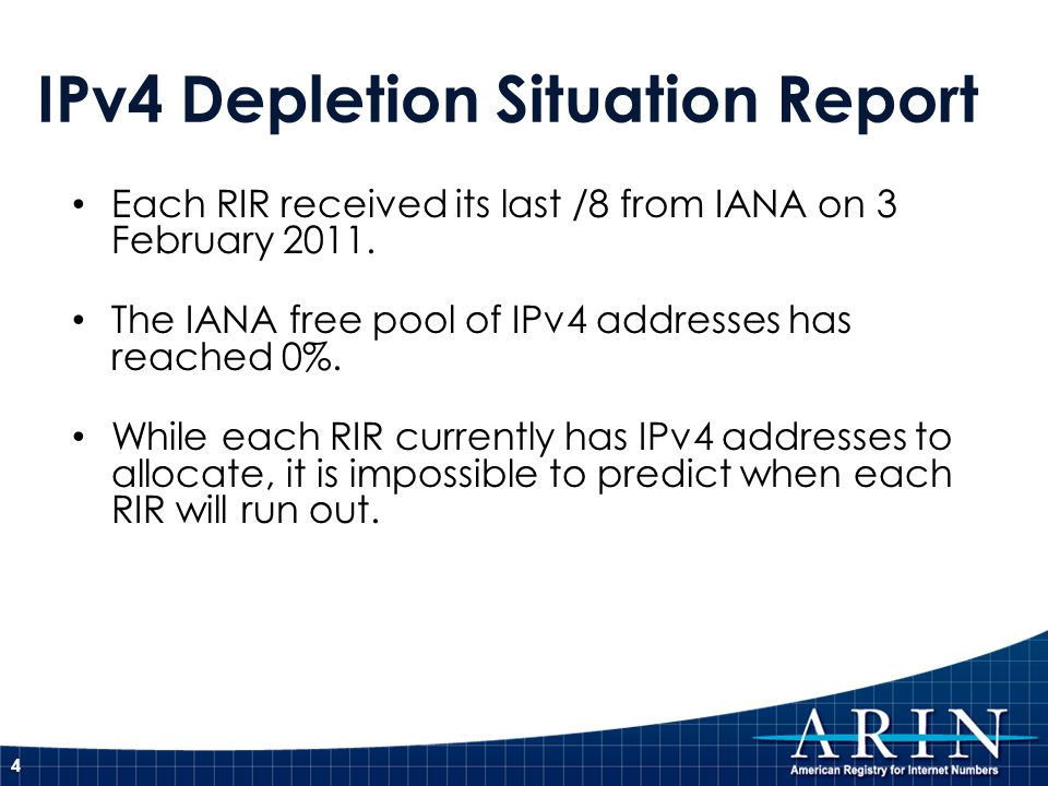 IPv4 & IPv6 - The Bottom Line Were running out of IPv4 address space.