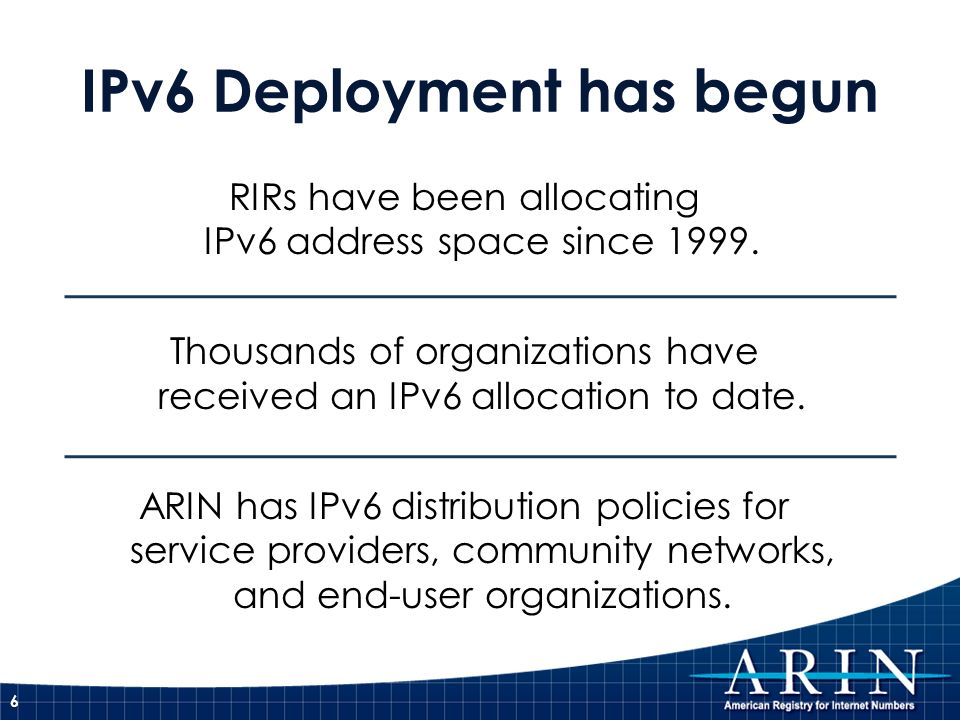 RIRs have been allocating IPv6 address space since 1999.